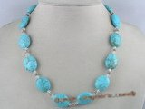 tqn015 15*19mm oval bule nature turquoise necklace Alternating with crystal beads