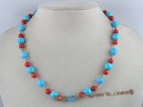 tqn016 10mm round turquoise necklace alternating with coral beads