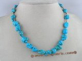 tqn018 10*15mm bule turquoise nugget necklace
