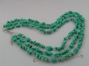 tqn019 Three Strands Turquoise Nuggets and crystal  Necklace