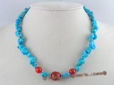 tqn021 nature bule nugget  turquoise bead necklace with red coral beads