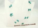 tqn023 Green nugget turquoise llusion floating double strands necklace