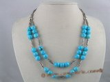 tqn024 Blue round turquoise with silver pipe layer necklace