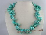 tqn026 irregular side-drilled green turquoise necklace in wholesale