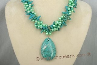 tqn028 green side- drilled pearl & turquoise tiwsted necklace wholesale