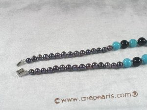 tqn029 balck cultured pearl and turquoise beads necklace wholesale