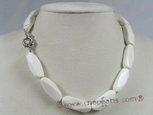 tqn035 white 12*30mm faceted stick turquoise necklace