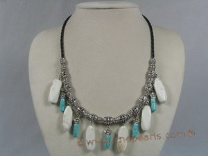 tqn037 white 12*30mm stick turquoise black ripple leather necklace