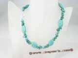 tqn040 Blue turquoise beads single necklace in whoelsale