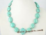 tqn041 18*20mm oval turquoise beads single necklace in whoelsale