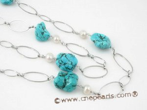 tqn047 Inspiration style turquoise matching potato pearl daily wearing rope necklace
