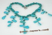 tqn052 Designer Nugget Turquoise Princess Layer Necklace