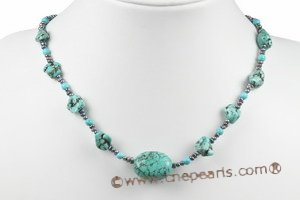 tqn054 irregular turquoise necklace with 3-4mm button pearl