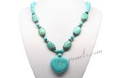 Tqn058 Elegant Turquoise Beads Princess costume necklace for the Fall