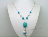 Tqn060  Designer Turquoise beads Y Style necklace with metal chain