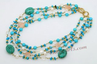 tqn061 Stylish four strands Turquoise and pearl beads Necklace in Gold toned