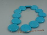 tqs002 35mm bule coin shape turquoise strand wholesale, 16""