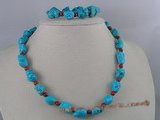 tqset002 nugget bule turquoise with 6mm coral beads neckalce&braclets set