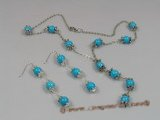 tqset003 Y Style Silver toned Rolo Necklace set with 8mm Turquoise beads