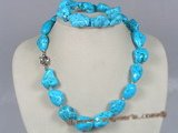 tqset004 blue irregular shape turquoise necklace and bracelet set