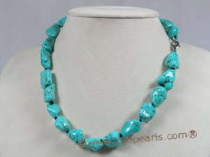 tqset009 green 14*17mm nugget turquoise necklace and bracelet set