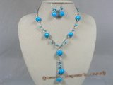 tqset010  Fanshion 12mm turquoise sterling silver Y style necklace earrings set