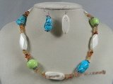 tqset011 multi-color turquoise with red agate beads neckalce&earrings set