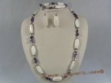 tqset016 white irregular turquoise and Amethyst beads neckalce bracelet set