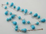 tqset021 Handcrafted Oval drop turquoise and faceted crystal Necklace &earring set