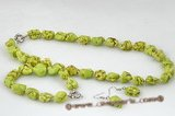 tqset023 Charming green irregular turquoise necklace& bracelet jewerly set