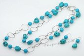 Tqset024 Handcrafted Necklace &earring set  with round turquoise and baroque turquoise