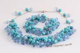 tqset025 Handcrafted Necklace &bracelet set with round turquoise and tear drop crystal