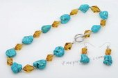 Tqset026 Inspiration Style Turquoise Bead and Crystal Princess Necklace