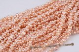 twin005 6*10mm mid-drilled peanut/twin pearl strand in pink color