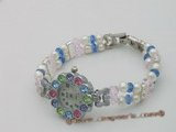 wbr101 Handmade potato pearl and crystal stretchy watch bracelet