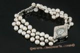 wbr271 Handcraft cultured bread pearl ladies watch and bracelet