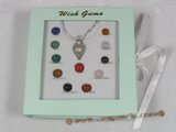 WG001 five sets wish gems gift sets with sterling silver chain&pendnat cage