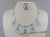 wn004 charming white seed pearl& crystal beads bridale jewelry set