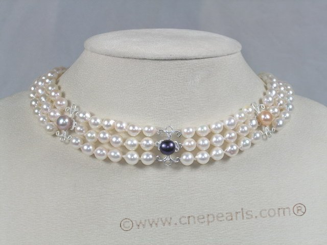 bread pearl choker wedding necklace