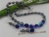 wn024 Handcrafted Blue crystal with black pearls Wedding Necklace Set