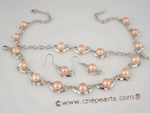 wn031 Heart pattern CZ valentine&#39s necklace set with pink bread pearl