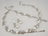 wn036 Heart pattern CZ valentine&#39s necklace set with white bread pearl