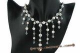 wn039 Handcrafted Timeless 8mm shell pearl bridal necklace on sale