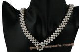 Wn045 Handcrafted V style potato pearl Bridal costume necklace