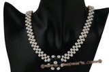Wn049 Hand knitted freshwater pearl flower pendant choker necklace for bridesmaid