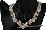 wn053 Hand knitted V style potato pearl Wedding Necklace with heart crystal