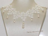 wn077  Handmade Lace Wedding Chocker Necklace with Freshwater Pearl