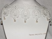 wn078  Handmade Lace Wedding  Necklace with Freshwater Pearl