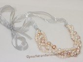 wn080 Handcrafted Freshwater  pearl bridal necklace with ribbon bowknot