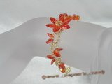 zbr005 Handmade 7.5inch flower design red Zircon beads Bracelet
